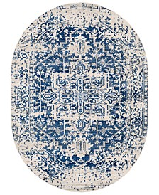 "Harput HAP-1021 Dark Blue 6'7"" x 9' Oval Area Rug"