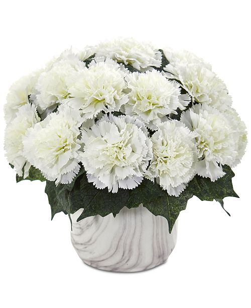 Nearly Natural Carnation Artificial Arrangement in Faux Marble Vase