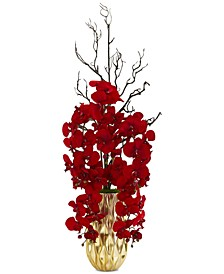 Red Phalaenopsis Orchid Artificial Arrangement in Gold-Tone Vase