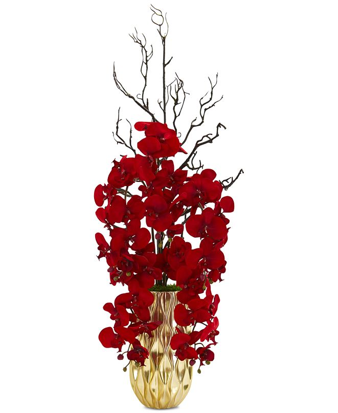 Nearly Natural Red Phalaenopsis Orchid Artificial Arrangement in Gold-Tone Vase
