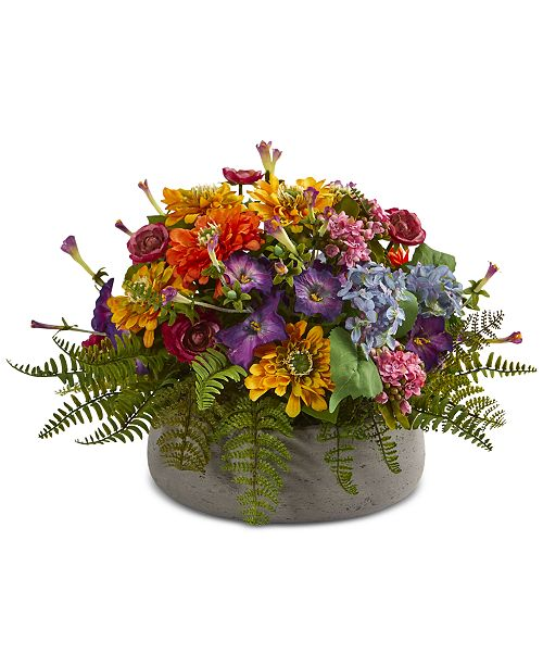 Nearly Natural Mixed Floral Artificial Arrangement in Stone Planter