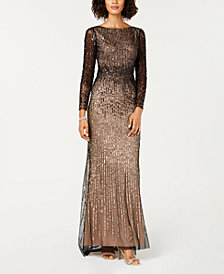 Adrianna Papell Petite Embellished Long-Sleeve Gown