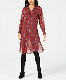 PROJECT 28 NYC Printed Button-Front Tunic Shirt
