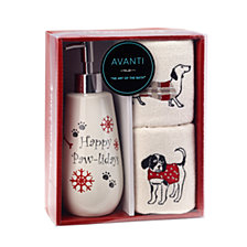 CLOSEOUT! Avanti Happy Pawlidays 3-Pc. Lotion Pump and Fingertip Towel Box Set