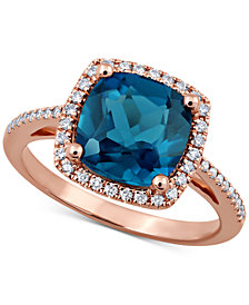 London Blue Topaz (3-3/4 ct. t.w.) & Diamond (1/5 ct. t.w.) Ring in 14k Rose Gold