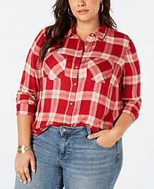 Lucky Brand Plus Size Casual Plaid Shirt