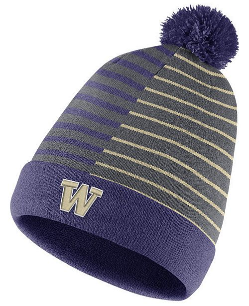 sale retailer 9f90f 727c8 Nike Washington Huskies Striped Beanie Knit Hat ...