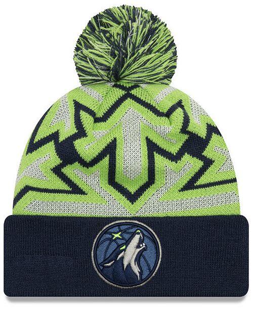 New Era Minnesota Timberwolves Glowflake Cuff Knit Hat - Sports Fan ... 518f55c14a2