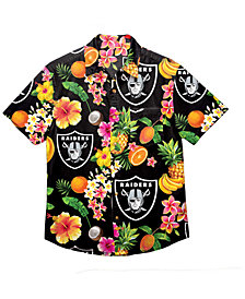 Forever Collectibles Men's Oakland Raiders Floral Camp Shirt