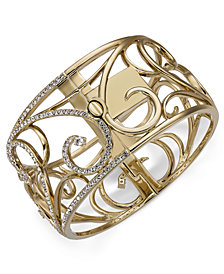 Danori Gold-Tone Pavé Openwork Bangle Bracelet, Created for Macy's