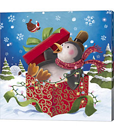 Penguin Holiday Surprise Gift by Dbk-Art Licensing Canvas Art