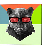 c2d6e33e341 Party Panther in Red Glasses by Lisa Kroll Canvas Art
