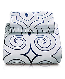 Superior Clarendon Duvet Cover Set - King/California King - White-Blue