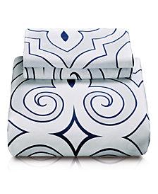 Superior Clarendon Duvet Cover Set - King/California King - White-Blue