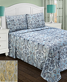 Superior Heritage 1800 Series Paisley Sheet Set - King - Light Blue