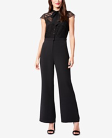 Betsey Johnson Tie-Neck Lace-Detail Jumpsuit