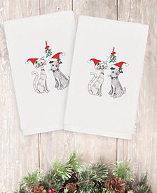 Linum Home Christmas Cute Couple 100% Turkish Cotton 2-Pc. Hand Towel Set