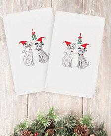 CLOSEOUT!  Linum Home Christmas Cute Couple 100% Turkish Cotton 2-Pc. Hand Towel Set