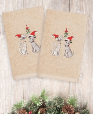 Image of Closeout! Linum Home Christmas Cute Couple 100% Turkish Cotton 2-Pc. Hand Towel Set Bedding