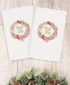 CLOSEOUT! Linum Home Christmas Peace 100% Turkish Cotton 2-Pc. Hand Towel Set