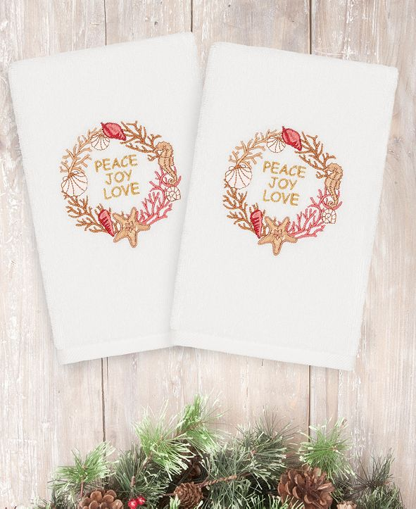 Linum Home CLOSEOUT!  Christmas Peace 100% Turkish Cotton 2-Pc. Hand Towel Set
