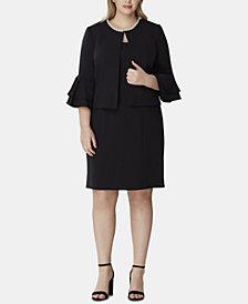 Tahari ASL Plus Size Faux-Pearl-Trim Ruffle-Sleeve Jacket & Dress Suit