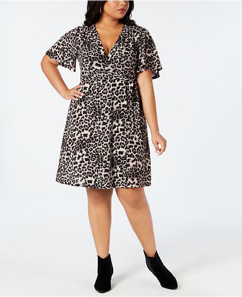 Soprano Plus Size Cheetah-Print Wrap Dress & Reviews ...