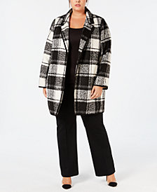 Calvin Klein Plus Size Open-Front Plaid Jacket