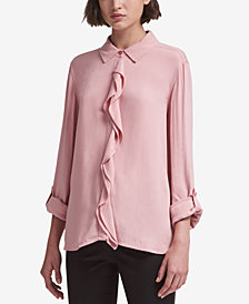 DKNY Ruffled Button-Front Shirt, Created for Macy's