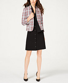 Nine West Tweed Jacket, Tie-Neck Blouse & Button-Front Skirt