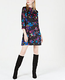 Bar III Floral-Print Mock-Neck Dress, Created for Macy's
