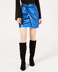 Bar III Metallic Twisted Faux Leather Mini Skirt, Created for Macy's