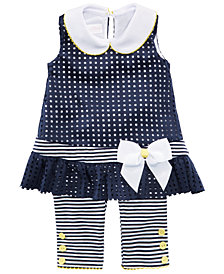 Bonnie Baby Baby Girls 2-Pc. Laser-Cut Tunic & Striped Capri Set