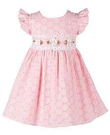 Bonnie Baby Baby Girls Floral-Trim Eyelet Dress