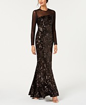 5a5e407ab2093 Betsy   Adam Long-Sleeve Velvet   Sequin Evening Gown