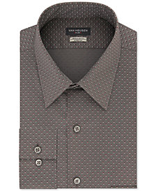 Van Heusen Men's Classic/Regular-Fit Performance Stretch Wrinkle-Free Flex-Collar Gray Geo-Print Dress Shirt