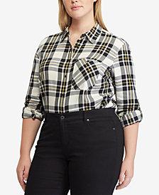 Lauren Ralph Lauren Plus Size Voile Cotton Shirt