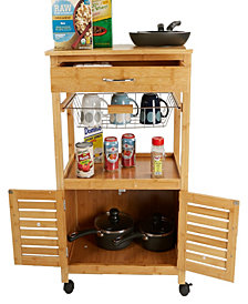 Mind Reader Bamboo 3 Tier Kitchen Cart Space-Saving Kitchen Trolley, Brown