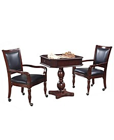 fortress Chess, Checkers, Backgammon Pedestal Game Table and Chairs Set