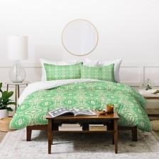 Deny Designs Holli Zollinger Anthology Of Pattern Seville Marble Green Twin Duvet Set