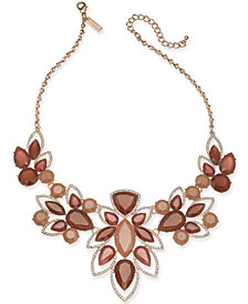 "I.N.C. Crystal Open-Work Bib Necklace, 18"" + 3"" extender, Created for Macy's"