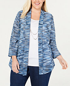 Alfred Dunner Plus Size Greenwich Hills Layered-Look Necklace Top