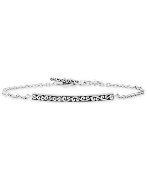 Filigree Plate Chain Bracelet in Sterling Silver
