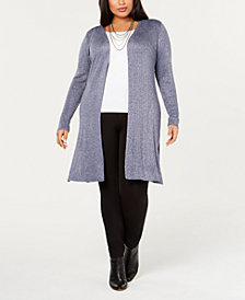 Belldini Black Label Plus Size Long Metallic Cardigan