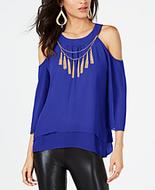 Thalia Sodi Chain-Tassel Cold-Shoulder Top, Created for Macy's