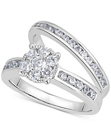 Diamond Cluster Bridal Set (1 ct. t.w.) in 14k White Gold