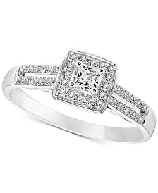 Diamond Princess Engagement Ring (1/4 ct. t.w.) in 14k White Gold