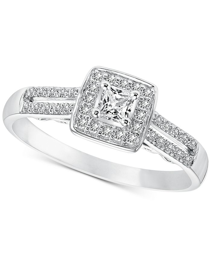 Macy's - Diamond Princess Engagement Ring (1/4 ct. t.w.) in 14k White Gold