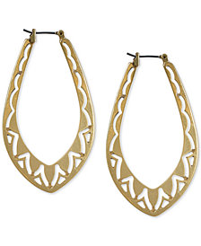 Lucky Brand Gold-Tone Openwork Hoop Earrings