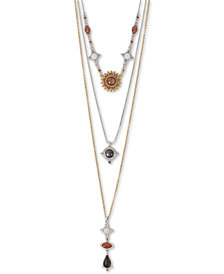 "Lucky Brand Two-Tone Multi-Stone Removable Layers 18"" Pendant Necklace"